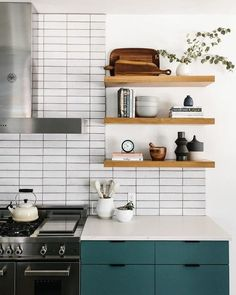 30 Nifty Small Kitchen Design and Decor Ideas to Transform Your Cooking Space - The Trending House Kitchen Interior, New Kitchen, Kitchen Decor, Home Interior Design, Green Kitchen, Rustic Kitchen, Kitchen Ideas, Kitchen Shelves, Kitchen Cabinets
