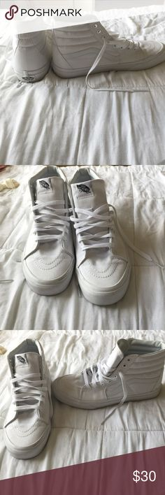 HI TOP WHITE VANS I bought these about a year ago and only got to wear them once! They are super new looking and only have one little black mark on the front. I bought them for $60 but am selling them for $30!! Vans Shoes Sneakers