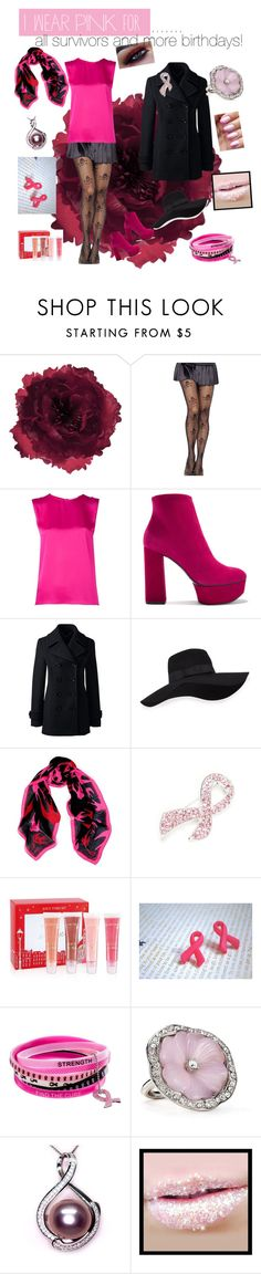"""""""Breast Cancer Awareness"""" by alanag007 ❤ liked on Polyvore featuring Accessorize, Maison Rabih Kayrouz, Casadei, Lands' End, San Diego Hat Co., McQ by Alexander McQueen, Napier, Lancôme, Kenneth Jay Lane and IWearPinkFor"""