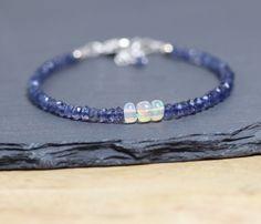 Ethiopian Welo Opal & Iolite Beaded Bracelet. Dainty Stacking Bracelet in Sterling Silver or Gold Filled. Delicate Blue Gemstone Jewelry.