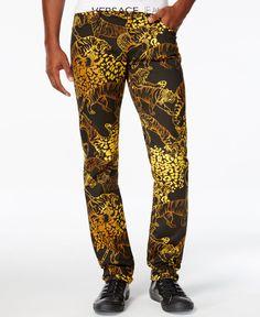 Versace Jeans Men's Slim-Fit Graphic-Print Jeans