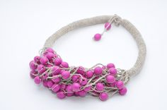 Linen pink necklace Natural Eco Jewelry Fashion accessories Gift for her Wooden Beads Eco Friendly Handmade Natural Spring Summer Jewelry by FeltNecklace on Etsy
