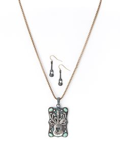 Silver & Turquoise Guitar Pendant Necklace & Drop Earrings