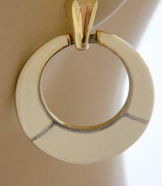 """Vintage 60s Mod White Enamel Circle Hoop Stud Earrings 1.75"""", Dangle Earrings…"""