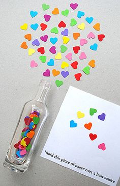 Valentines or Anniversary: invisible ink message in a bottle plus confetti hearts