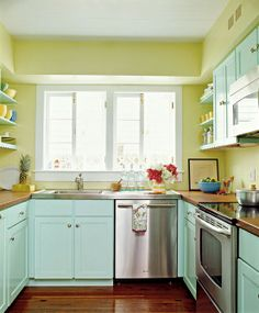 image kitchen yellow turquoise - Google Search