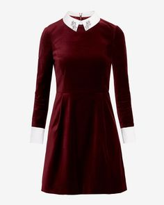 Embellished collar velvet dress - Brick Red | Dresses | Ted Baker UK