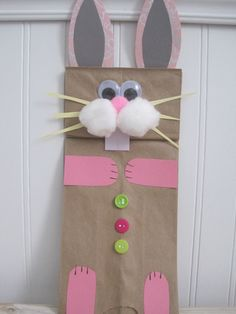 Preschool Crafts for Kids*: Easter Bunny Paper Bag Puppet Craft