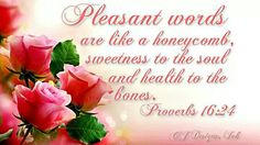 Proverbs 16:24.  Pleasant words...sweet to the soul.