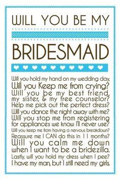 Bridesmaids invite. Cool!