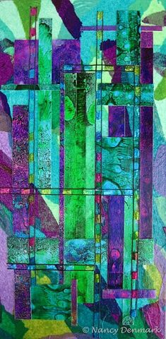 """STAINED GLASS"" ©NancyDenmark 6"" X 12"" mixed media #collage on cradled artist panel. #mixedmedia"