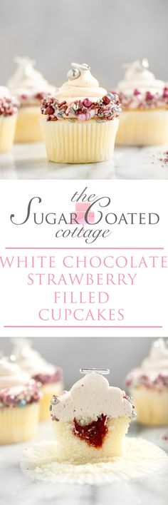 Chocolate Strawberry Filled Cupcakes - The Sugar Coated Cottage - cupcakes White Chocolate Strawberry filled cupcakes. White chocolate strawberry buttercream on top of a strawberry puree filled cupcake! Strawberry Filled Cupcakes, Strawberry Filling, Strawberry Shortcake, Cream Filled Cupcakes, White Chocolate Buttercream, Strawberry Buttercream, Chocolate Cupcakes, Buttercream Cupcakes, Chocolate Chocolate