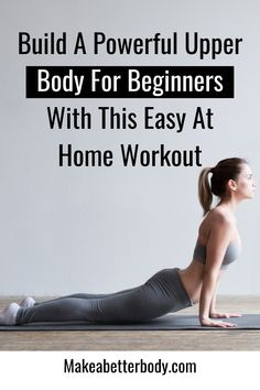 A powerful exercise routine for beginners to build a strong upper body with particular emphasis on the chest. Beginner Workout At Home, Easy At Home Workouts, Body Workout At Home, Arm Workouts, Workout Exercises, Bodyweight Routine, Metabolic Workouts, Lower Back Muscles, Upper Body