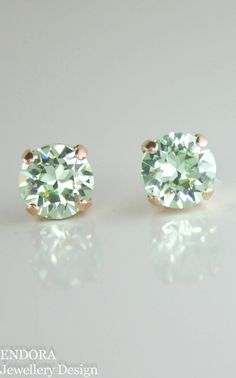 Mint earrings,mint stud earrings,stud earrings,green crystal earrings,swarovski…