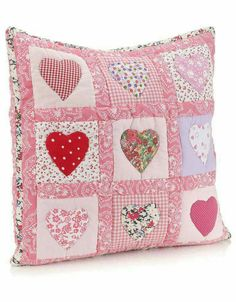 Sewing Cushions interesting patchwork from monsoon - Applique Cushions, Patchwork Cushion, Sewing Pillows, Quilted Pillow, Patchwork Quilting, Patchwork Ideas, Quilting Projects, Sewing Projects, Heart Cushion