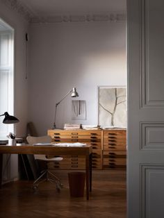 home office creative work space vintage