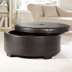 Corbett Coffee Table Storage Ottoman Round Ottomans At Leather