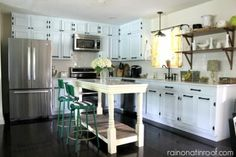L shaped ranch kitchen with island; Open Shelves! via Remodelaholic.com