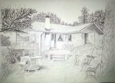 Tegning av en hytte på bestilling. Blyant. ca 60x70 cm