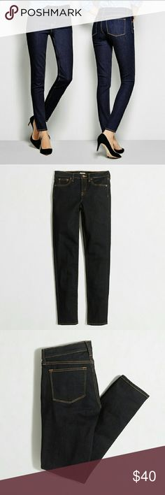 "J.Crew factory skinny jeans Only worn twice, almost brand new condition.  Slight stretch for comfort.  My waist is 29"" and my hip is 39"" and they fit great.  Inseam is 30"" They are dark indigo. J. Crew Jeans"