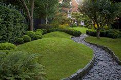 garten ideen gartengestaltung gehweg steine gartenbau grüne wiese