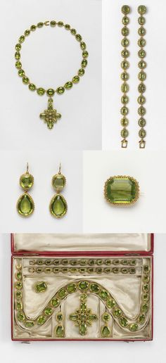 Set of gold and peridot jewels, composed of a necklace with pendent cross, two bracelets, two earrings and brooch. They are contained in a red leather case and have survived with a letter from Princess Elizabeth. Periodot mounted in gold, with gold pin. On 30 April 1816 the Prince Regent, the future George IV, sent to 'Miss Coats' a set of peridots to wear at the marriage of his daughter, Princess Charlotte, and Prince Leopold of Saxe-Coburg.