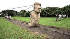 strawberriesngunpowder:  smileforthehigh:  unexplained-events:  Researchers have used Easter Island Moai replicas to show how they might have been walked to where they are displayed.  VIDEO  Finally. People need to realize aliens arent the answer for everything (when they use it to erase poc civilizations and how smart they were)