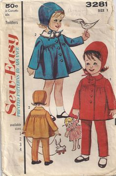 1950s Toddlers Size 1 Coat Advance 3281 Vintage Sewing by Rosie247, $2.00