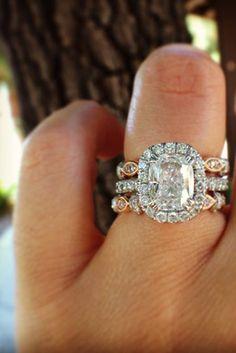 Neither Too Hard Nor Too Soft Diamond Engagement Bridal Set 3.34 Ct Princess Diamond Ring Handmade ! Diamond