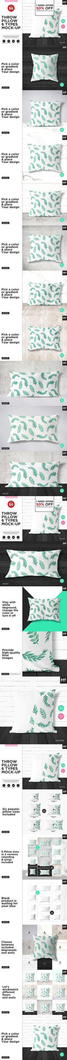6x Throw Pillow Types Mock-up. Product Mockups