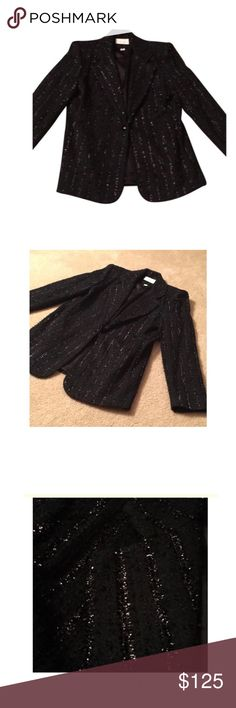 A CASHE black blazer A Cache black blazer with slight silver material going up and down the jacket. Can be worn to a business meeting or a night on the town. Very CHIC! Made in the USA. Please be advised that I paid 9% tax on this item. Jackets & Coats Blazers