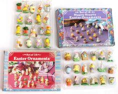 Lot 2 Box Mini Easter Ornaments Resin Miniature 18 36 Tiny Small Tree Decor Hang