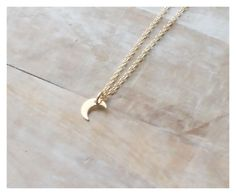 gold moon necklace, tiny gold moon necklace, crescent moon, dainty moon necklace, moon pendant, gold moon pendant, small crescent moon by BeaucoupdeBeads on Etsy