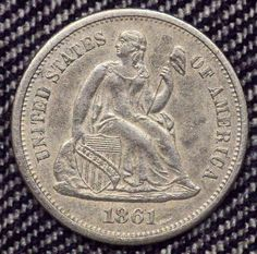 1861-S Seated Liberty Dime Rare F-101 R-5 BU+++ Details Coin