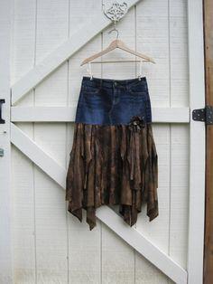 Boho cowgirl skirt Tattered bohemian skirt Brown by ShabyVintage, $42.90