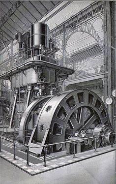 This massive two story tall steam engine might have provided electricity for a single city or a large factory in Germany at the turn of the century. World History Teaching, World History Lessons, Industrial Machinery, Heavy Machinery, Steampunk City, Industrial Photography, Industrial Revolution, Steam Engine, Retro Futurism