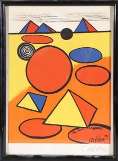 """Alexander CALDER (1898-1976)  """"Composition aux pyramides""""  lithographie  portant dans la planche la mention """"A San Lazzaro"""", signée et datée 75 dans la planche en bas à droite  imprimerie ARTE à Paris… - Art Richelieu - 27/11/2014"""