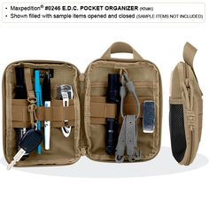 The Maxpedition EDC Pocket Organizer is a handy way to keep your daily essentials organized and at hand. This durable pouch features a top handle, MOLLE webbing, a mesh front pocket, front loop field and clamshell design. Pocket Organizer, Personal Organizer, Airsoft, Maxpedition Bags, Maxpedition Fatty, Molle Backpack, Molle Bag, Edc Tactical, Edc Everyday Carry