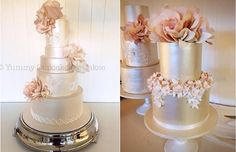 Two of her captivating wedding cake designs are featured below in beautiful champagne pearl shades, adorned with amazing wafer paper florals in soft peach ...