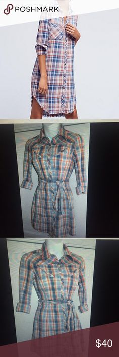 ANTHROPOLOGIE Lux SHIRT DRESS Small PLAID Belted Stylish and Chic Dress!! Actual dress is 2nd-4th photo. Size small. Anthropologie Dresses