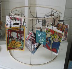 old lampshade to display cards in craft booth Market Displays, Craft Show Displays, Craft Show Ideas, Display Ideas, Booth Displays, Card Displays, Display Pictures, Retail Displays, Merchandising Displays