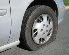 Flat tire in College Station, Texas.