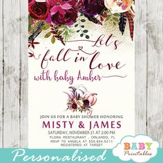 Fall in Love baby shower invitations to celebrate the arrival of your new girl. These personalized pumpkin themed baby shower invitations feature a watercol Baby Shower Vintage, Boho Baby Shower, Baby Shower Fall, Fall Baby, Floral Baby Shower, Girl Shower, Baby Shower Themes, Baby Shower Decorations, Shower Ideas