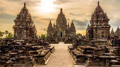 Templo Prambananem Yogyakarta, na Indonésia.