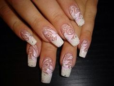 Much prettier than a plain ol' French tip. Pink and white swirls.