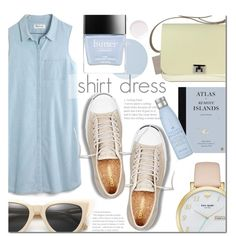 Shirt Dress by dian-lado on Polyvore featuring Madewell, Jack Purcell, Kate Spade, Illesteva, Butter London, Drybar, Essie, Topshop and shirtdress