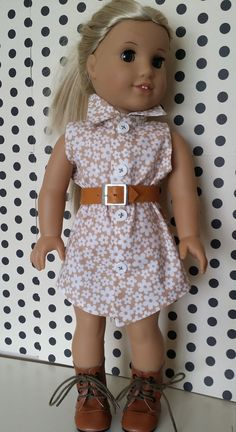 Shirtdress, Belt and shoes for American Girl and other 18 inch dolls on Etsy, $23.00