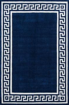 With a Greek key motif surrounding a solid center, the Momeni Bliss Indoor Area Rug is an ideal floor covering to define a dining or seating. White Area Rug, Blue Area Rugs, Border Rugs, Navy Rug, Hand Tufted Rugs, Modern Area Rugs, Greek Key, Colorful Rugs, Decoration
