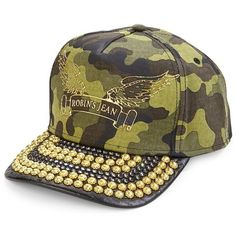 Robin's Jeans Metal Studded Brim Camouflage Cap ($120) ❤ liked on Polyvore featuring men's fashion, men's accessories, men's hats, apparel & accessories, mens camo hats and mens caps and hats
