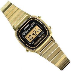 Casio Womens Digital Alarm Gold Plated Stainless Steel Bracelet Black Face Watch
